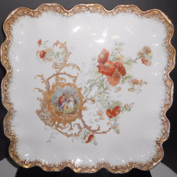 "LS&S Limoges Porcelain Tray Serving Plate Cake Cookies 10 1/2"" Square Elizabethan Lovers Mavalei et Granger 1920-1938"