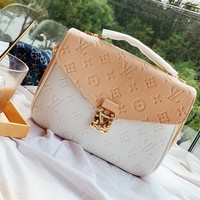 Louis vuitton fashion collage color embossed LOGO lady casual one-shoulder messenger bag