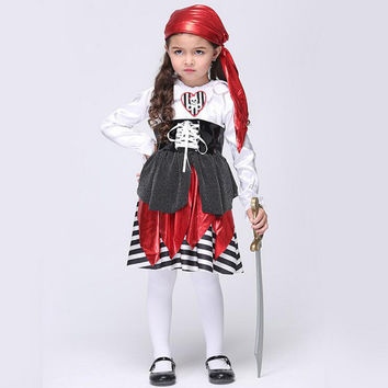 Hot sale 2016  Girls Halloween Party Dresses Princess Children Clothes For Kids Vestidos Baby Clothing Girl Dress Pirate