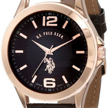 U.S. Polo Assn. Classic Men's USC50201 Rose Gold-Tone Watch with Brown Faux-L...