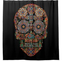 Vintage Colorful Sugar Skull Shower Curtain