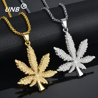 2017 New Gold Silver Plated Color Cannabiss Small Weed Herb Charm Necklace Maple