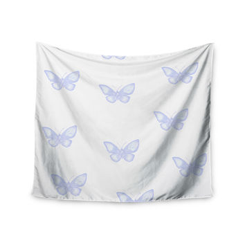 "Jennifer Rizzo ""Many Lavender Butterflies "" Purple White Wall Tapestry"