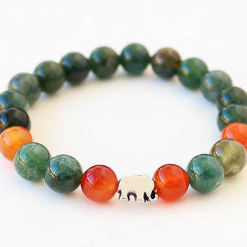 Elephant bracelet, gemstone bracelet, carnelian, agate bracelet, natural stone bracelet, jade, best friend birthday gift, gift for her