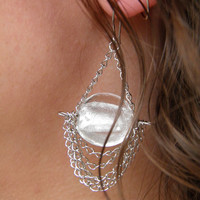 Earrings... Crystal Waters... Beautiful clear blown glass with draping platinum plated link chains earrings.