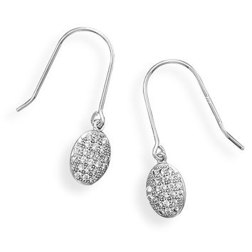 Rhodium Plated Oval Micro Pave Cubic Zirconia Earrings
