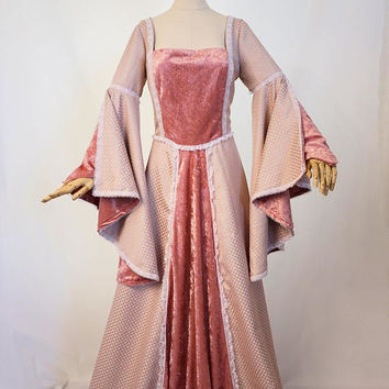 Pink and Silver Medieval Dress- Game of Thrones, Maid Marian, Renaissance Fairs, etc