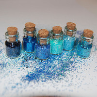 Miniature Glitter in Blues: Sampler of 6 SOLVENT RESISTANT Glitters in Tiny Glass Bottles with Cork