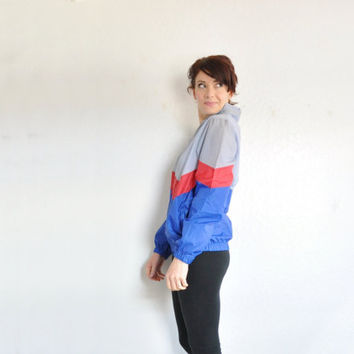 red gray and blue Pony jacket . lightweight retro windbreaker coat .medium