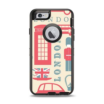 The Vector London Time Red Apple iPhone 6 Otterbox Defender Case Skin Set