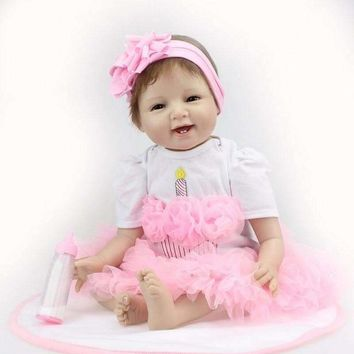Reborn Baby Doll with Pink Candle Dress