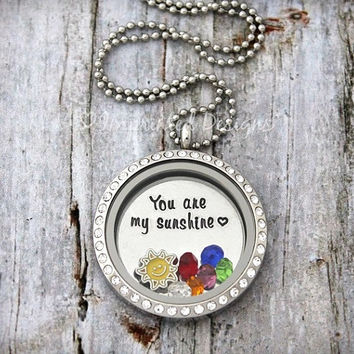 You Are My Sunshine / Floating Locket / Floating Charm Locket / Memory Locket