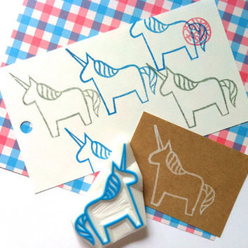 unicorn rubber stamp. unicorn stamp. hand carved rubber stamp. hand carved stamp. horse stamp. diy birthday. craft projects. card making.