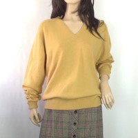 Vtg 2 Ply Irish Cashmere Sweater V Neck Pullover Jumper Gold Mustard Top Slouchy Oversized Sweater Unisex Men's Women's 41 chest S M L