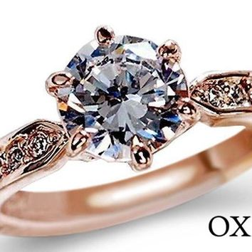 1.75ct Cubic Zirconia Rose Gold & Silver Plated Engagement Ring
