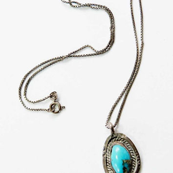 Vintage Hand Made Turquoise Sterling Silver Pendant on Sterling 925 Box Chain Necklace