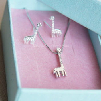 Tiny giraffe necklace and earrings set,925 sterling silver giraffe necklace and earring