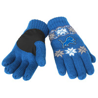 Detroit Lions Forever Collectibles Knit Lodge Gloves One Size