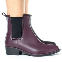 Novato01 By Wild Diva, Pointy Toe Pull On Chelsea Ankle Women's Rain Boots
