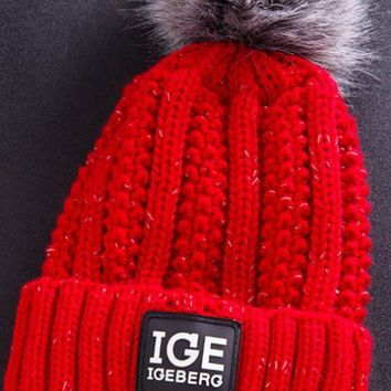 DCCKW2M Winter outdoor extra thick letter label IGE wool hat ladies warm hair ball knit cap.