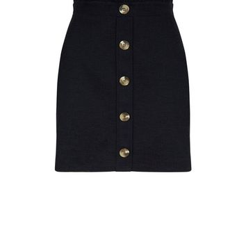 Black Button Front Paperbag Mini Skirt | New Look