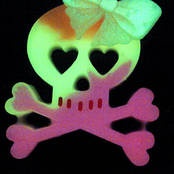 Glow in the Dark Girly Skull Necklace Glows Green, Pink, Yellow and Orange on Pink Cord