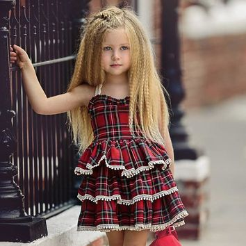 Tiered Ruffle Backless Toddler Plaid Dress