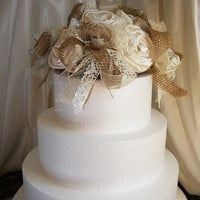 Burlap & Lace Cake Topper, handmade of burlap, lace and ivory satin flowers.