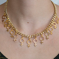 Venus symbol gold plated chunky chain statement necklace
