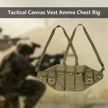Outdoor Canvas Vest Ammo Chest Rig Magazine Carrier Combat Vest Army Hunting Pouches Platform Outdoor Vest