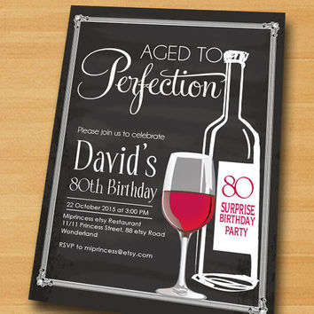 Wine birthday invitation, Aged to Perfection, Chalkboard Party Invitation cheers for any age gathering Party invitation Design - card 454
