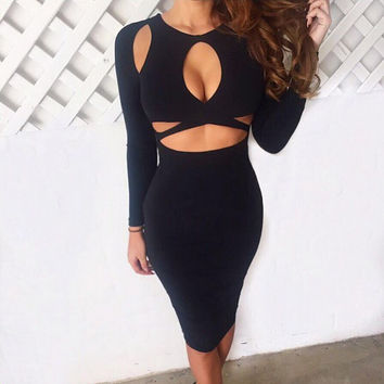 Autumn Black Bandages Sexy Long Sleeve Slim Dress One Piece Dress [8096396871]