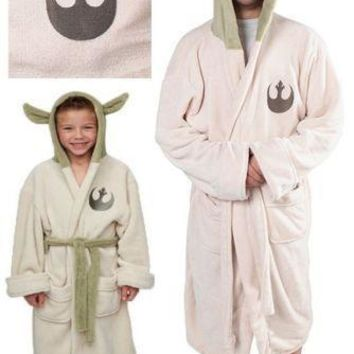 Star Wars Force Episode 1 2 3 4 5  Lucasfilm Yoda Robe Cosplay Costume Jedi Fleece Hooded BathRobe Gown Adult Kids Child Pajamas Sleeping Wear AT_72_6