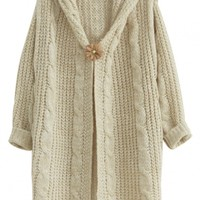 Glamorous Solid Long Cable Knit Hooded Cardigan - OASAP.com