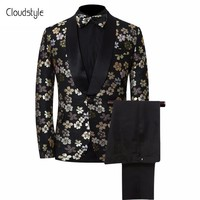 Men's Floral Print Three-Piece Blazer/Pants/Tie Tuxedo