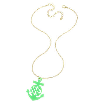 Anchor Monogrammed Necklace in Multiple Colors