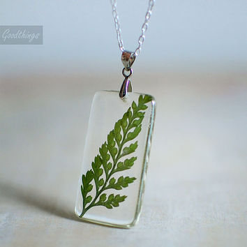 Fern necklace, resin jewelry, pressed leaf, nature necklace, statement necklace, natural history necklace, gift under 40