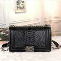 CHANEL SCALE 105Women Shopping Leather Metal Chain Crossbody Satchel Shoulder Bag Full black