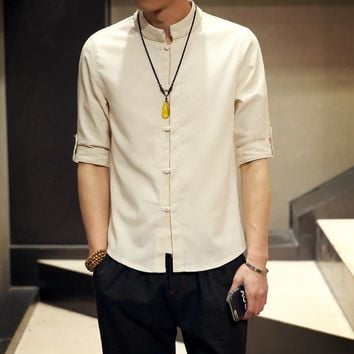 Men's Long Sleeve Mandarin Collar Linen Shirt