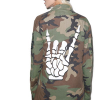 Mogwai Raise Yer Metal Horns Camo Jacket Multi One