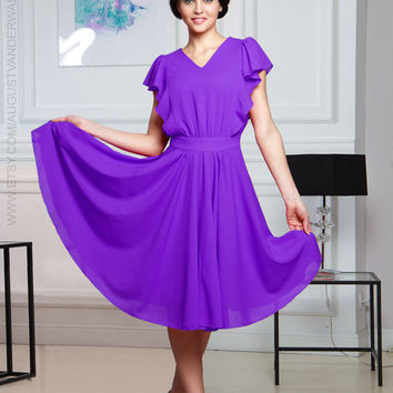 lilac dress, evening gowns, evening dress, cocktail dress, prom dress, party dress, red dress with flounces, dress with ruffles, chiffon
