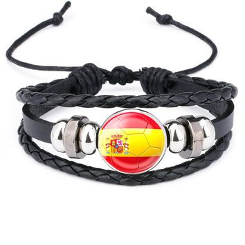 NingXiang Football Team Logo Beads Bangle Jewelry Russian World National Flag Braided Rope Charm Punk Bracelet Cup For Man Gift
