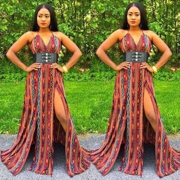 Red Geometric Print Cross Back Spaghetti Strap Double Slit Bohemian Maxi Dress