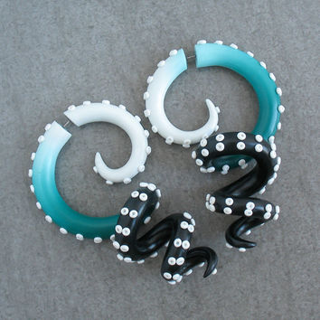 Fake Gauge Earrings, Octopus Tentacle Plugs, Faux Gauges, Spiral Fake Plugs