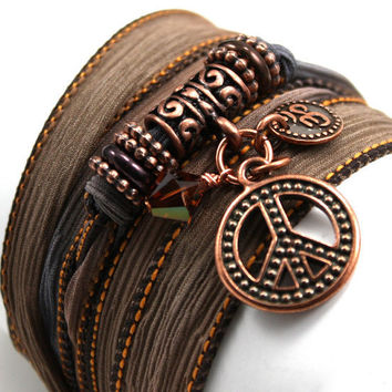 Silk Ribbon Yoga Bracelet -Copper Canyon with Copper Peace Symbol, Mini Om Disc, Smoky Topaz Swarovski Crystals