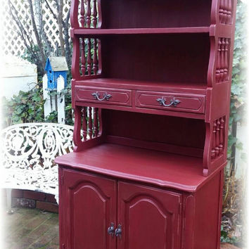 Distressed red hutch dresser shelves, storage! Upcycled shabby chic, country cottage, french country, kitchen, bathroom, bedroom, anywhere