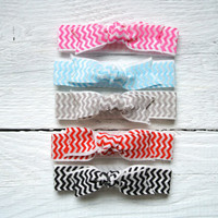 bow hair tie ponytail holders - chevron pack of 5- stretchy no dent no damage fold over elastic ribbon knotted ties