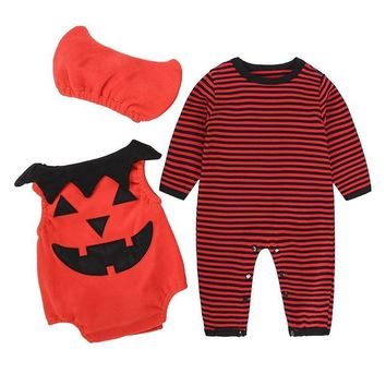 New Baby Boys Romper Halloween Costumes Baby Boy Jumpsuit Cotton Pumpkin Long Sleeve Romper + Short Sleeve Romper + Hats 3 Sets.