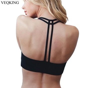 VEQKING Strapped Back Sports Bra for Women Running Fitness Athletic Vest Hollow Out Yoga Top Push Up Crop Tops Bra for Woman