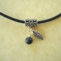 Sodalite Blue Stone and Feather Leather Necklace